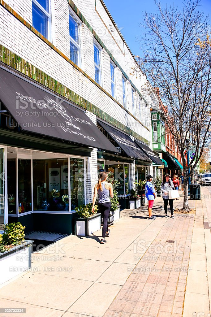 People shopping in downtown Franklin, Tennessee stock photo
