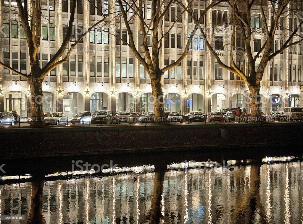 people shopping in Dusseldorf Germany at night stock photo