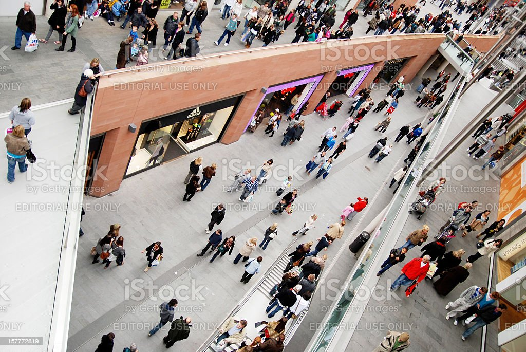 People shopping in Liverpool One mall. stock photo
