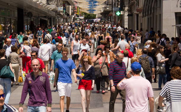 People shopping in Madrid, Spain stock photo