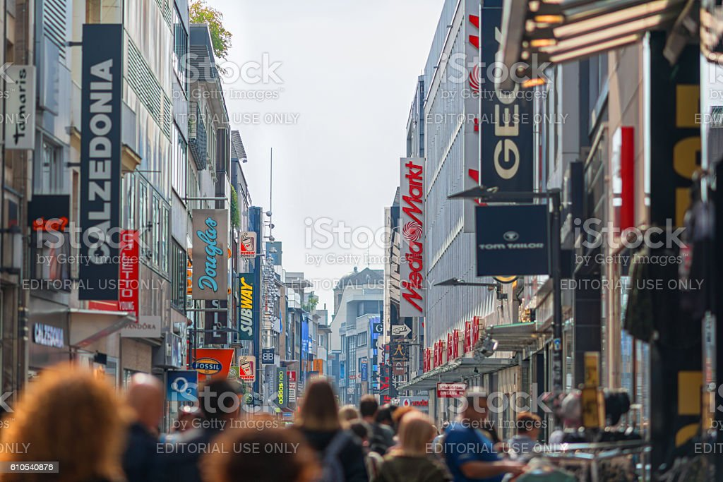 people shopping in the city of Cologne Germany stock photo