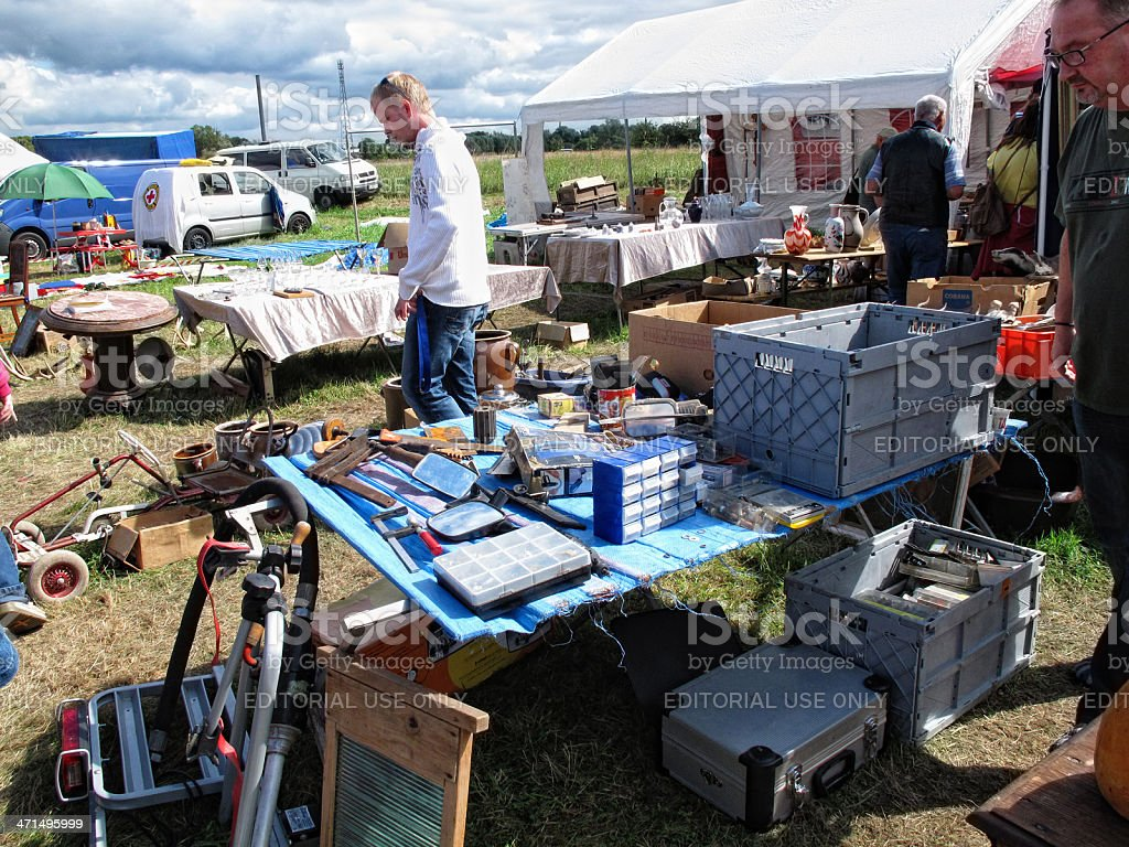 People shopping on a flea market royalty-free stock photo