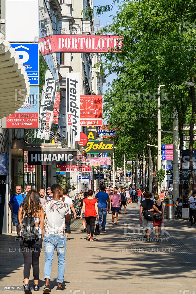 People Shopping On Mariahilferstrasse Shopping Street Of Vienna