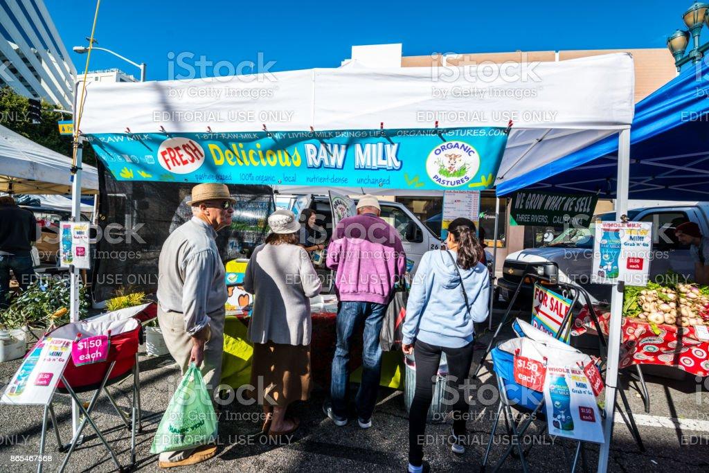 People shopping on Santa Monica Farmer's Market, California, USA stock photo