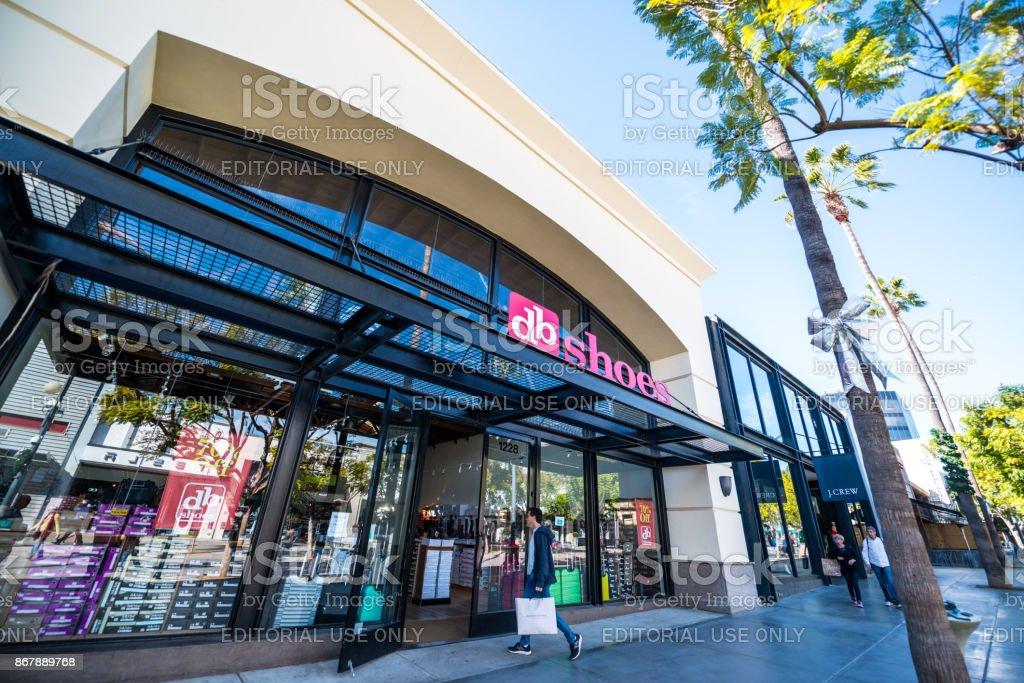 People shopping on Third Street Promenade, Santa Monica, USA stock photo