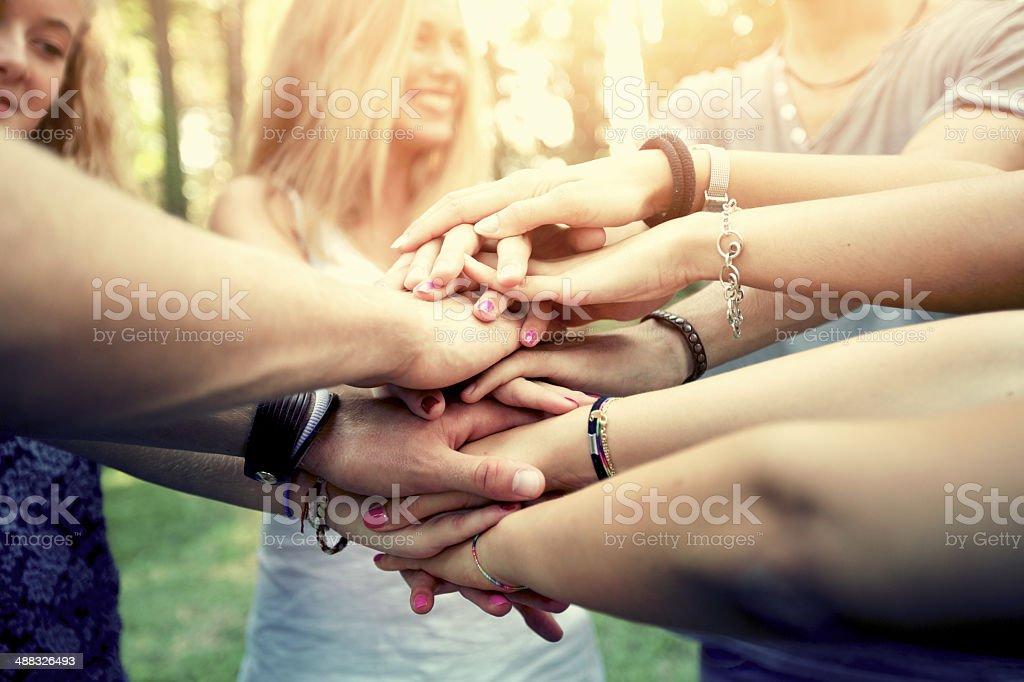 People showing unity stock photo