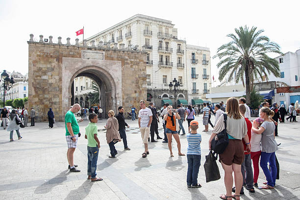 People sightseeing in Tunis stock photo