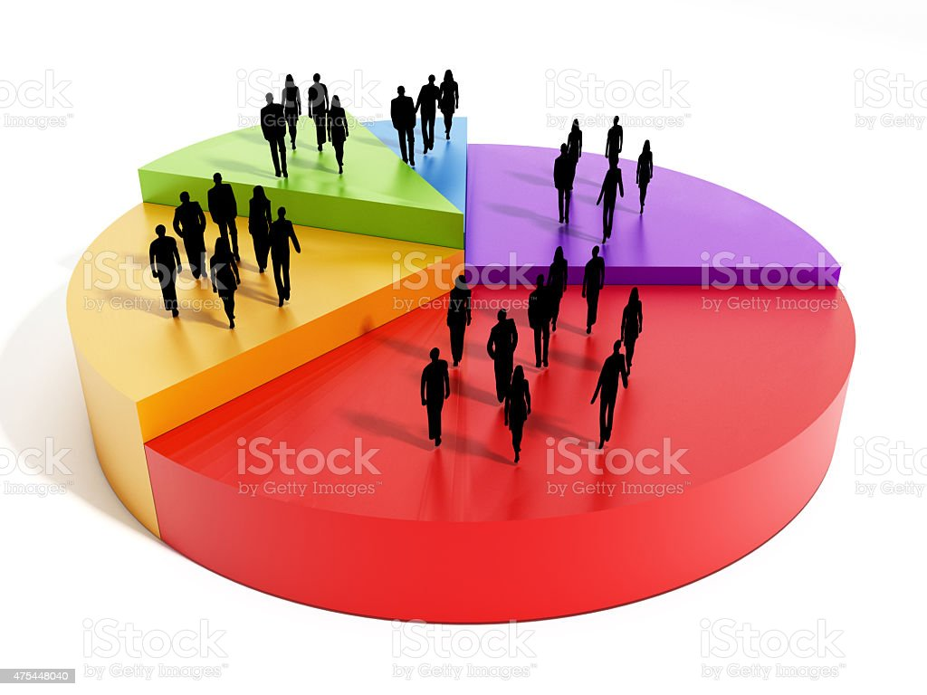 People silhouettes on pie chart slices stock photo