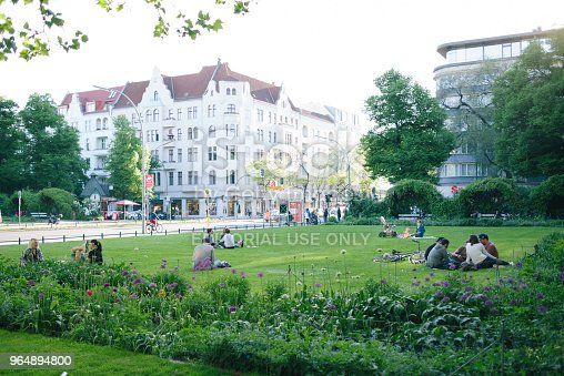 People Sit And Rest In A Park At Savignyplatz Stock Photo & More Pictures of Architecture