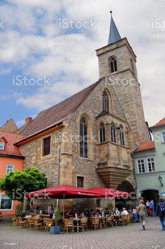 People sitting a restaurant at Erfurt city (Thuringia - Germany) stock photo