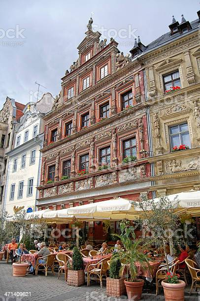 People sitting a restaurant at Erfurt city (Thuringia - Germany)