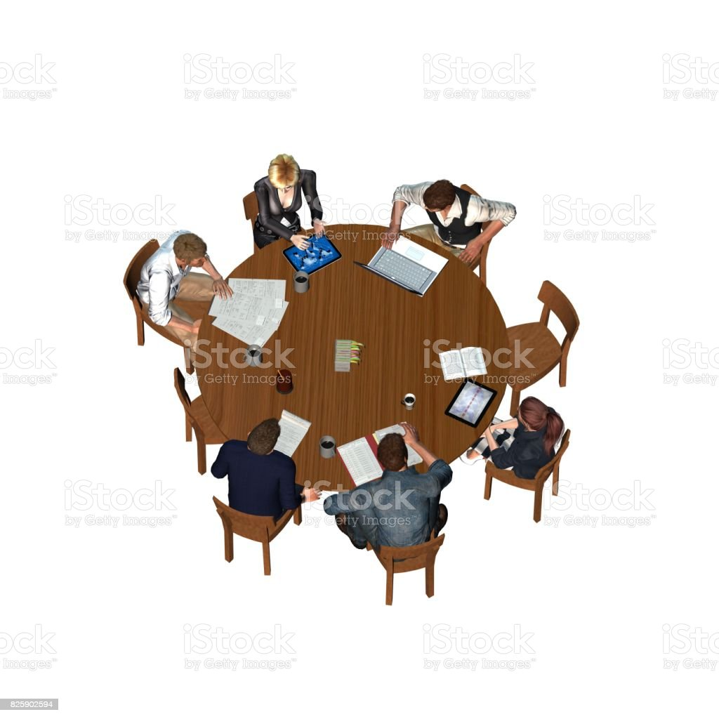 People Sitting At A Round Table In A Meeting Business Top