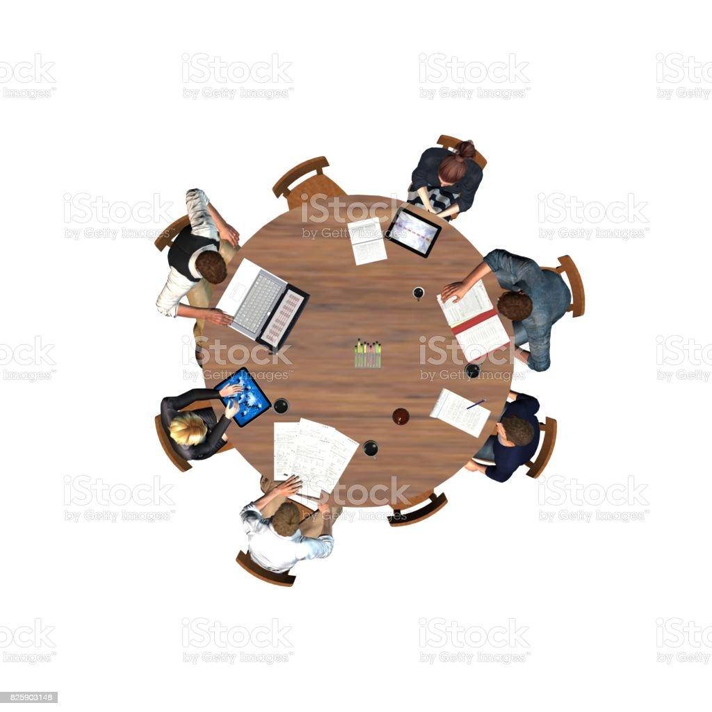 Personas Sentadas En Una Mesa Redonda En Una Reunión