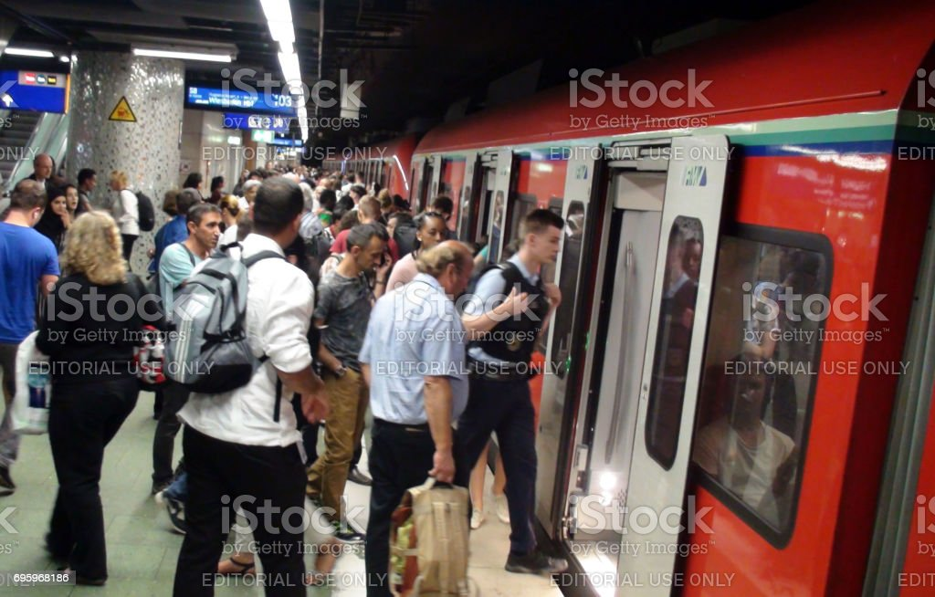 People Sitting Inside Train, Boarding Train,Departing Station Platform At Frankfurt Railway Station Germany Europe stock photo