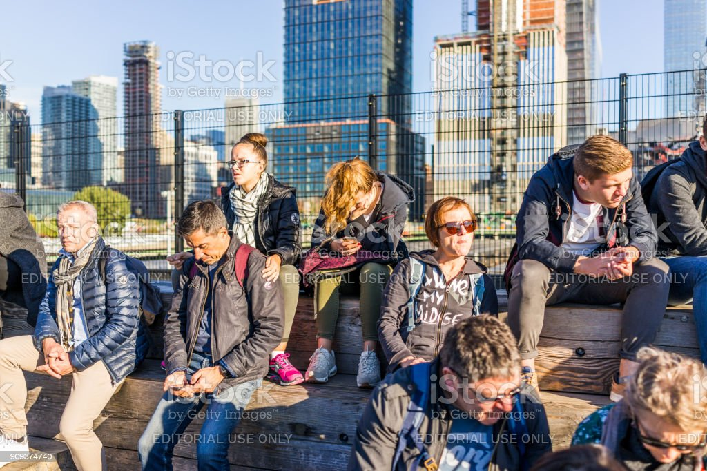 Fine People Sitting On Wooden Benches On Highline High Line Urban Bralicious Painted Fabric Chair Ideas Braliciousco