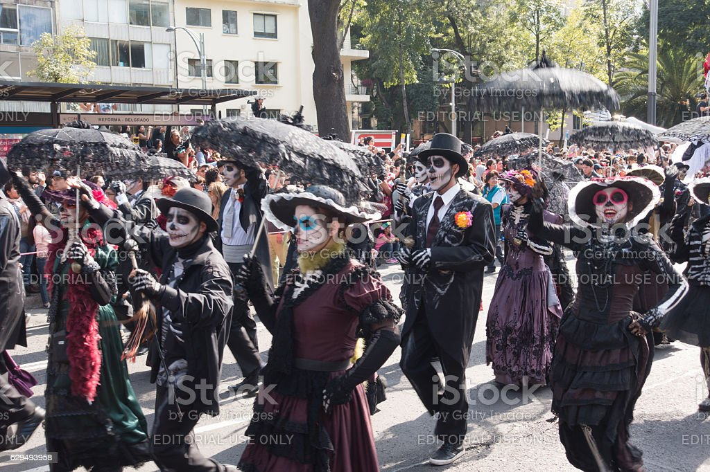 People Skeleton Costumes Day of the Dead Parade Mexico City stock photo