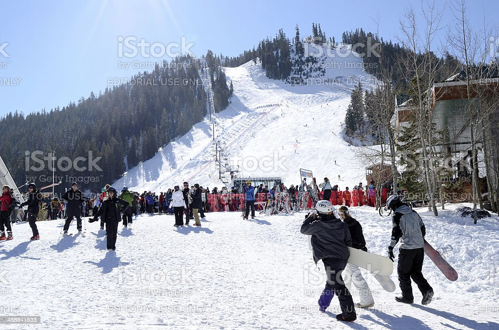 people ski in squaw valley stock photo