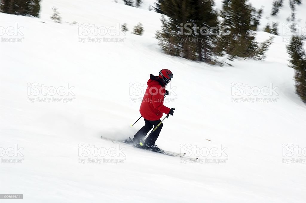 People : Skier Downhill Red stock photo