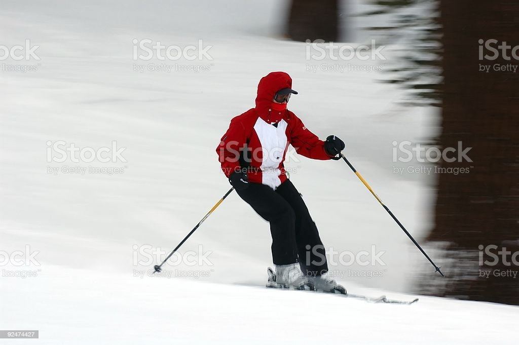 People : Skier in Red Jacket stock photo