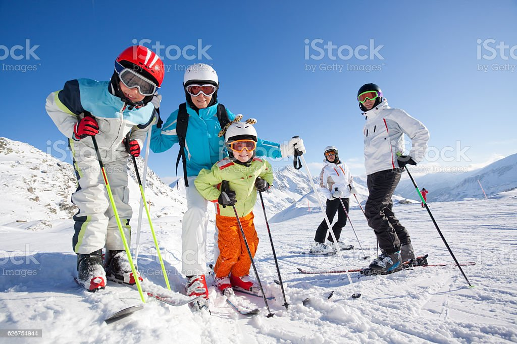 people skiing stock photo