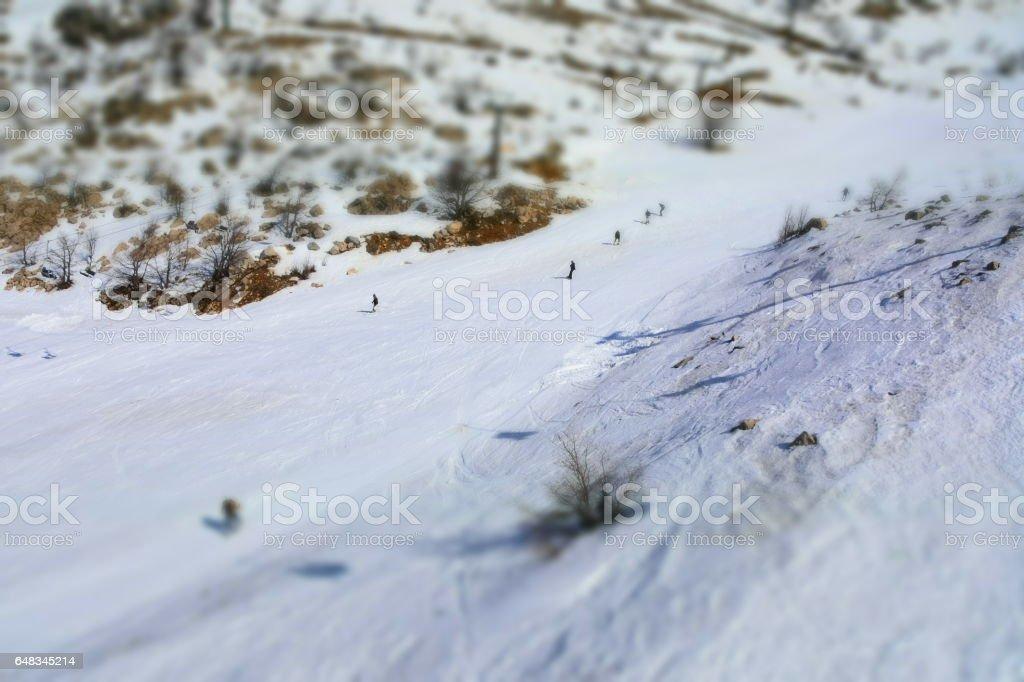 People skiing stock photo