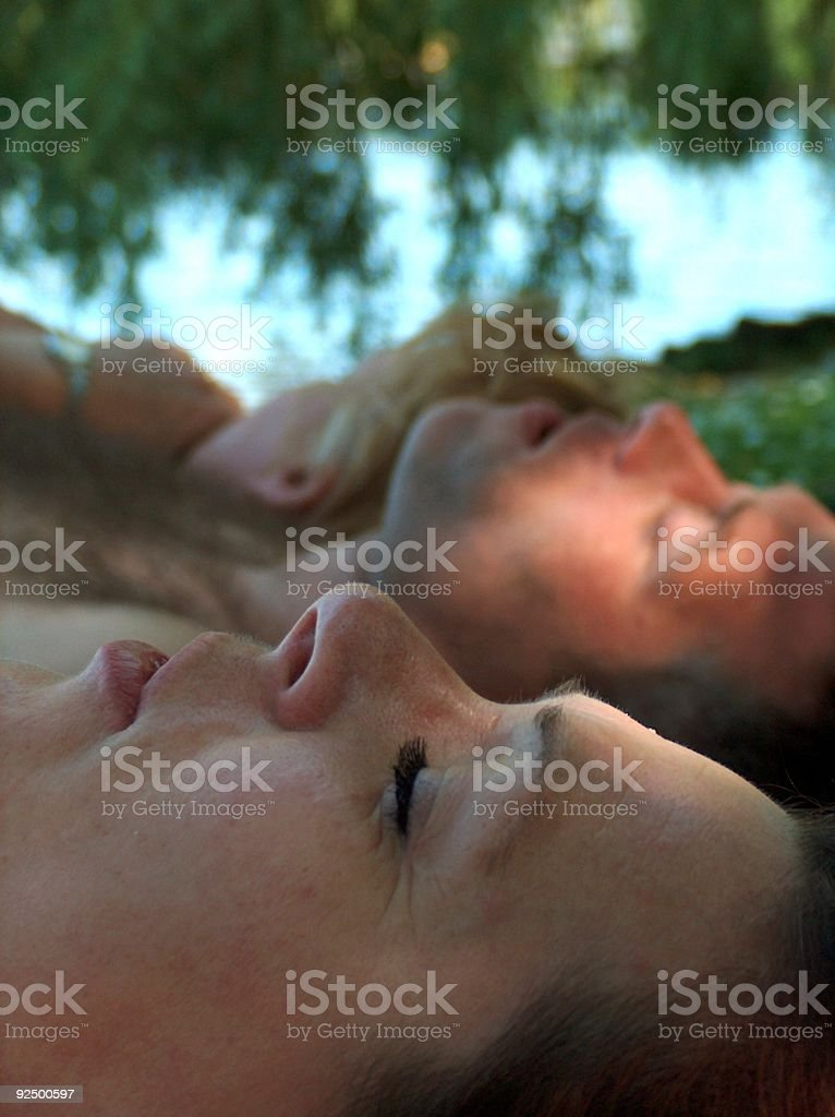 people sleeping in the open royalty-free stock photo