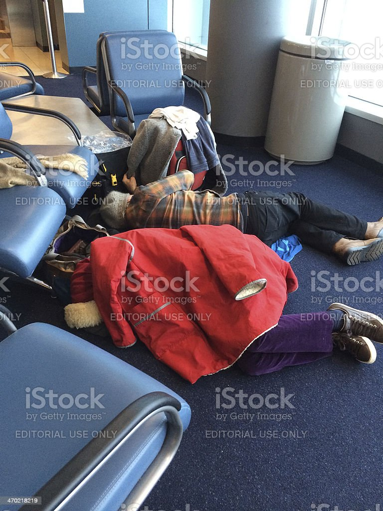 People Sleeping On The Floor At Jfk Airport New York Stock
