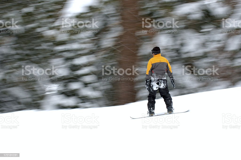 People : Snowboarder in Motion stock photo