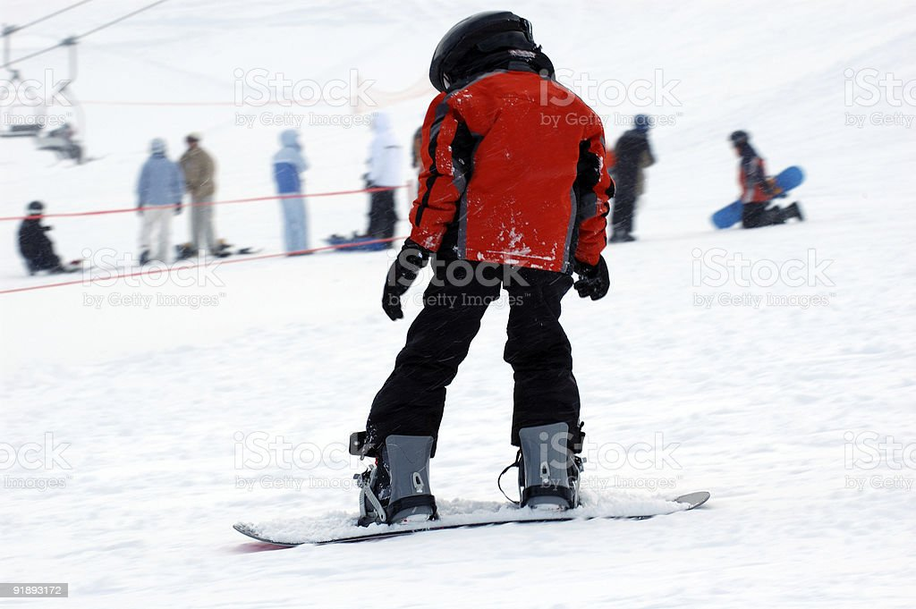 People : Snowboarder Red Jacket stock photo