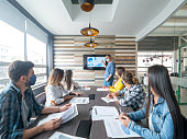 istock People social distancing and wearing facemasks in a business meeting at the office 1280055640