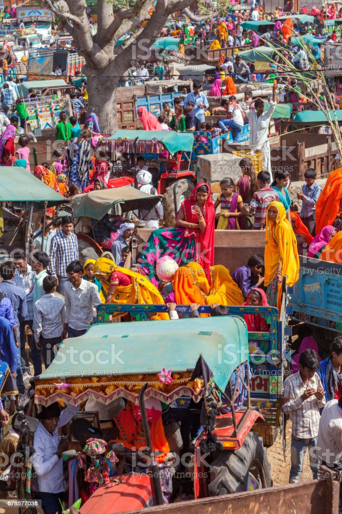 People specially villagers arrives at Chaksu Fair in Jaipur by various means of transporatation, stock photo