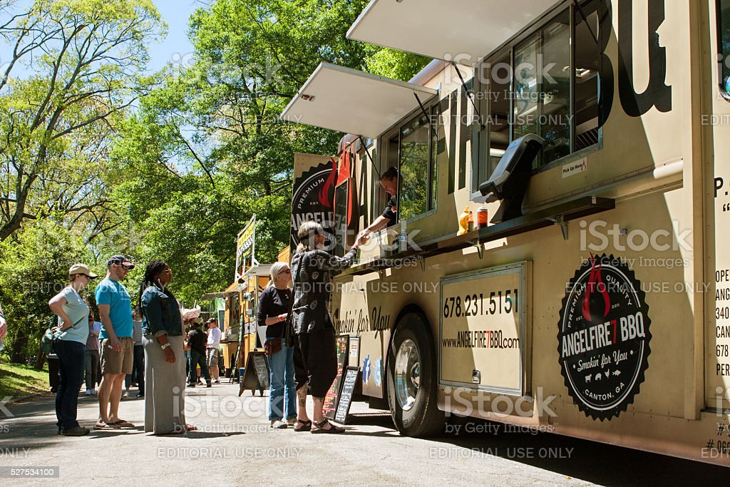 Buy A Food Truck >> People Stand In Line To Buy Meals From Food Truck Stock Photo Download Image Now