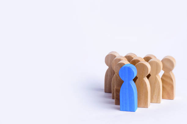 people stand in the formation of the pins. a game of bouwling. wooden figures of persons, on a white background. the concept of business management personnel and the achievement of set goals. - single object stock pictures, royalty-free photos & images