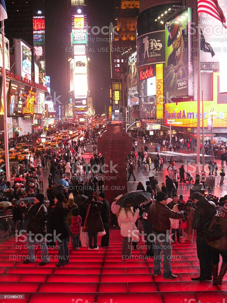People Standing on TKTS Stairs on Times Square. stock photo
