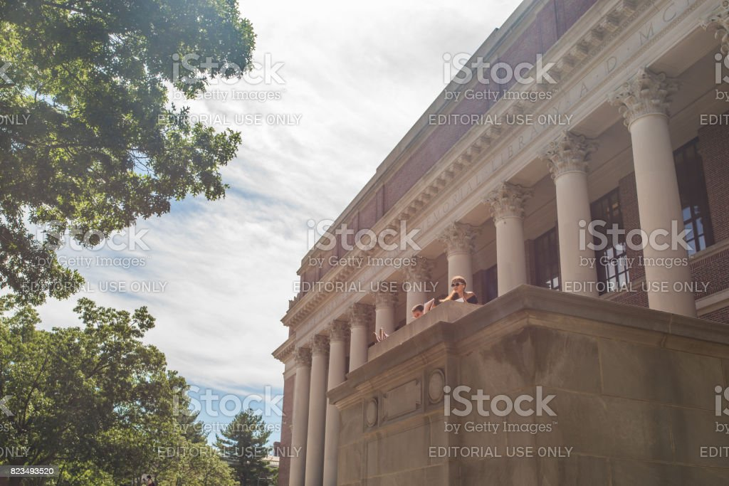 People studying outside the library at Harvard Univsersity stock photo