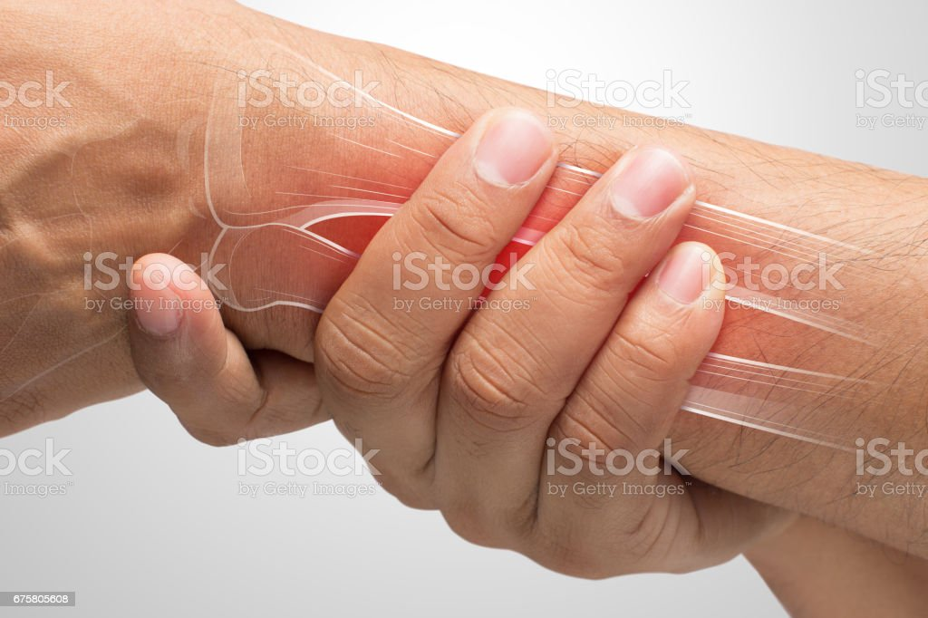 People suffering from arm pain, De Quervain Tenosynovitis, Men with bones and wrist problem concept stock photo