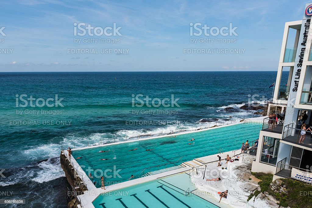 People swimming at the famous Bondi Beach Icebergs swimming pool stock photo