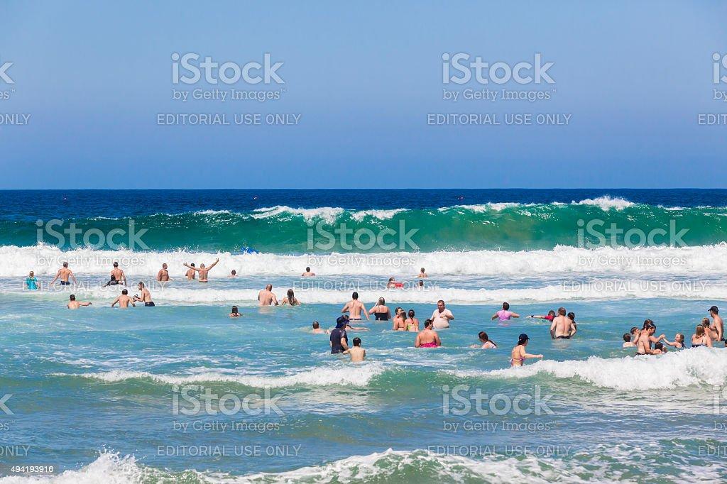 People Swimming Ocean stock photo