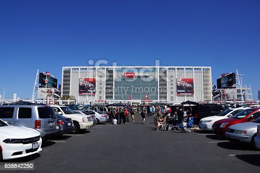 Santa Clara, United States - March 29, 2015: People tailgate in parking lot before the start of the showcase of the immortals, Wrestlemania 31, at the Levi's Stadium in Santa Clara, California on March 29, 2015.