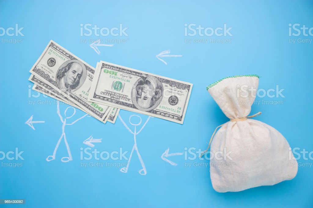 people take money from the big bag royalty-free stock photo
