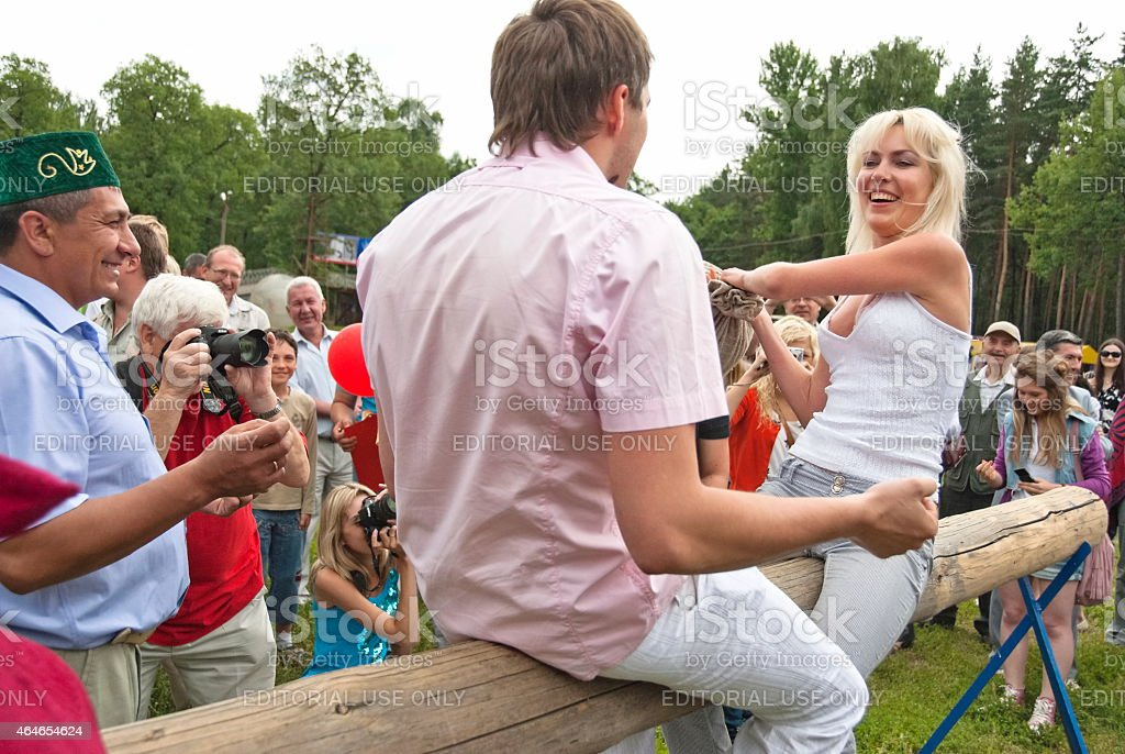 People take part in a funny Pillow Fight, Voronezh, Russia. stock photo