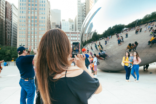 People Take Photos by Chicago Illinois Cloudgate Millennial Park
