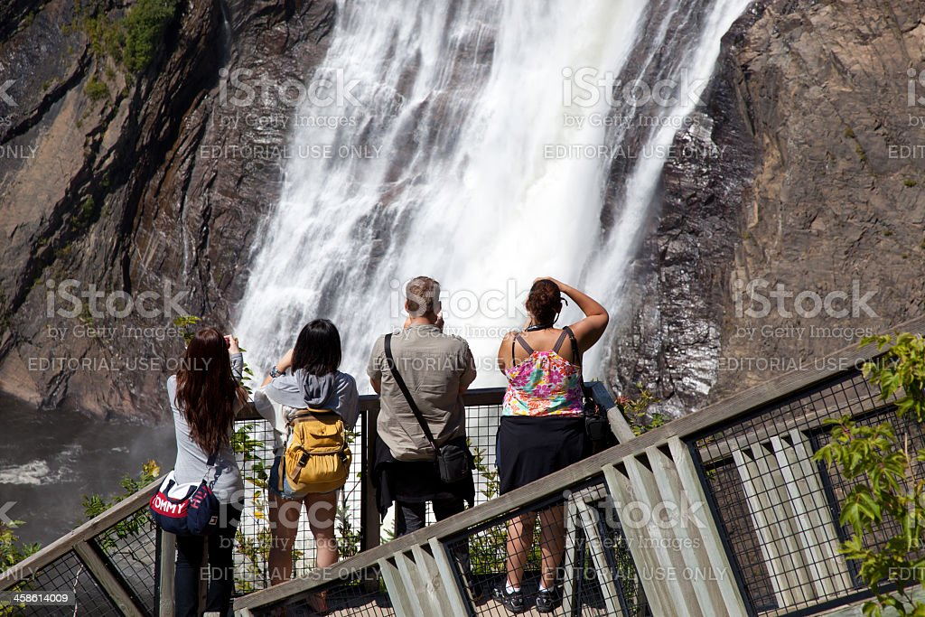 People Taking Picture of Montmorency Waterfalls, Quebec City stock photo