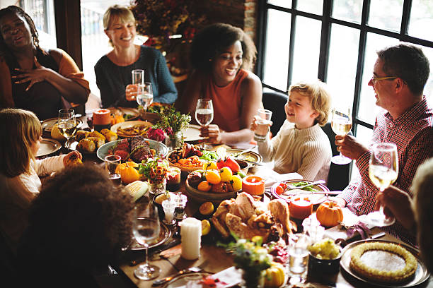 People Talking Celebrating Thanksgiving Holiday Concept - foto stock