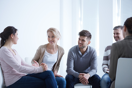 People Talking In Circle Stock Photo - Download Image Now - iStock