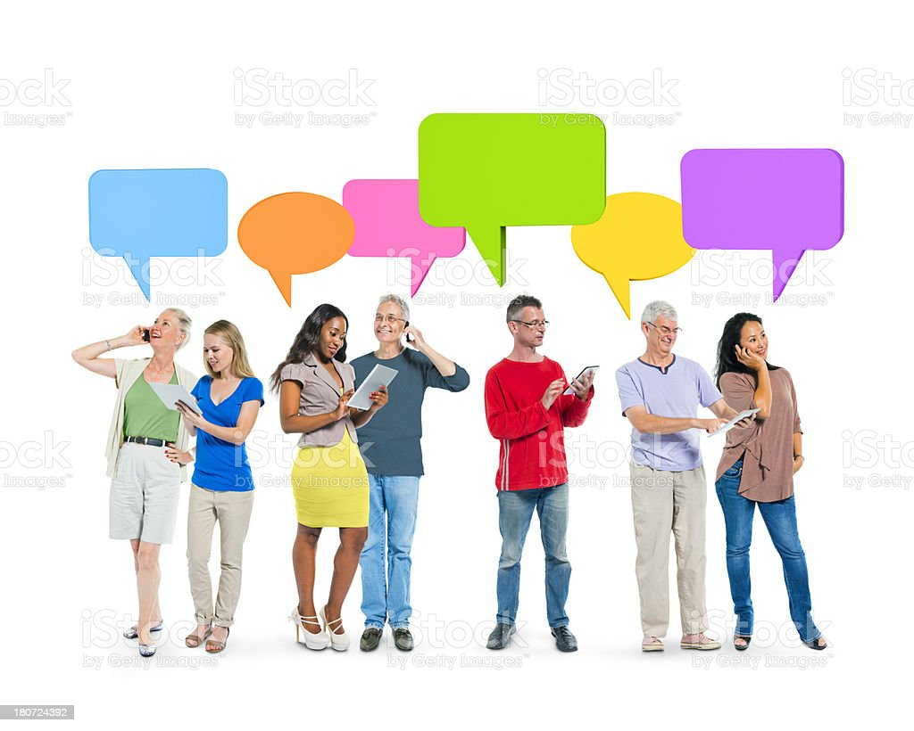 People talking on phones and checking tablets royalty-free stock photo