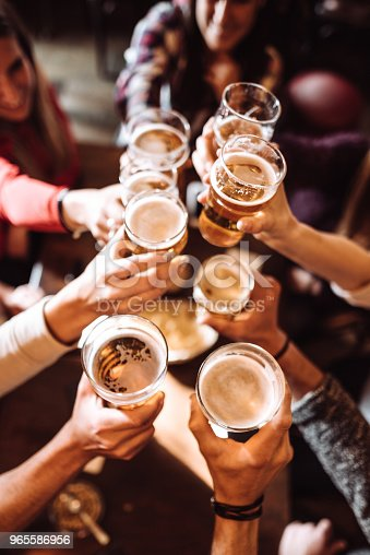 people talking toasting in a pub with the beers