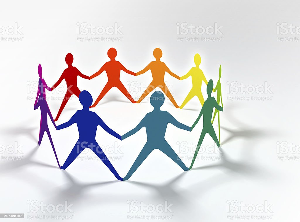 people team in circle chain stock photo