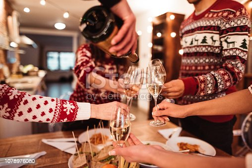 people toasting champagne at dinner for christmas