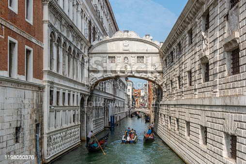 People touring in gondolas under the famous baroque style Bridge of Sighs at Venice city, Italy.